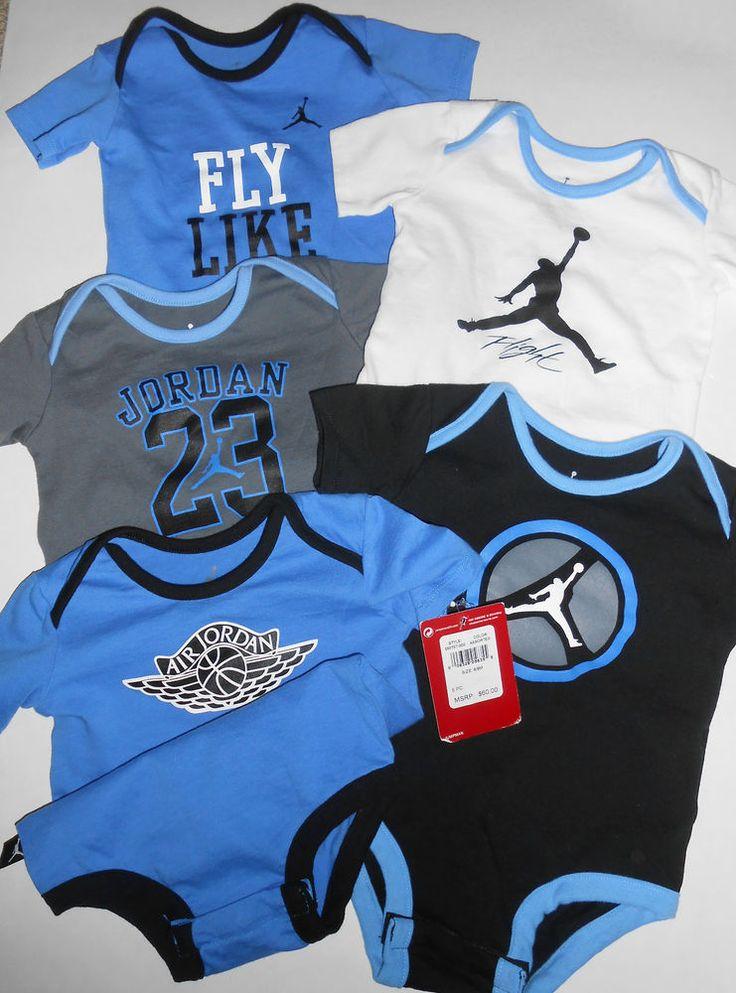 986bf94525f ... shop nwt nike air jordan jumpman infant baby boy 5 piece pack bodysuit  creeper onesie 1d205