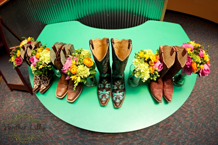 corral boots = bride's shoes #cowboy #wedding #photography www.HeatherLilly.com