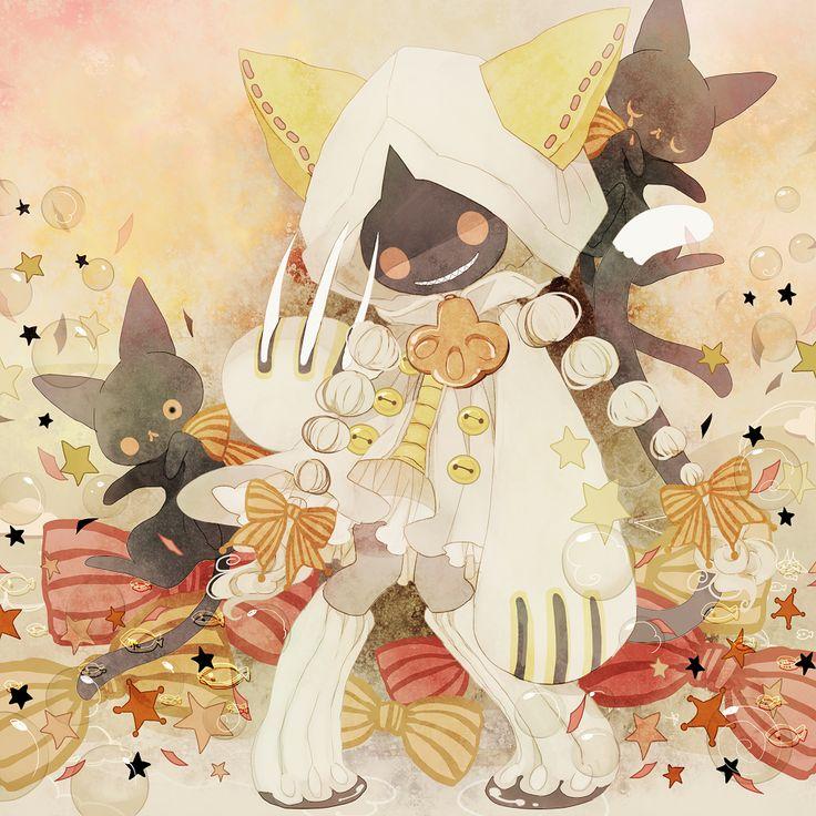braid cat claws grin hood piyo_(crxa) pyo_(artist) red_eyes ribbon smile tail taokaka twin_braids