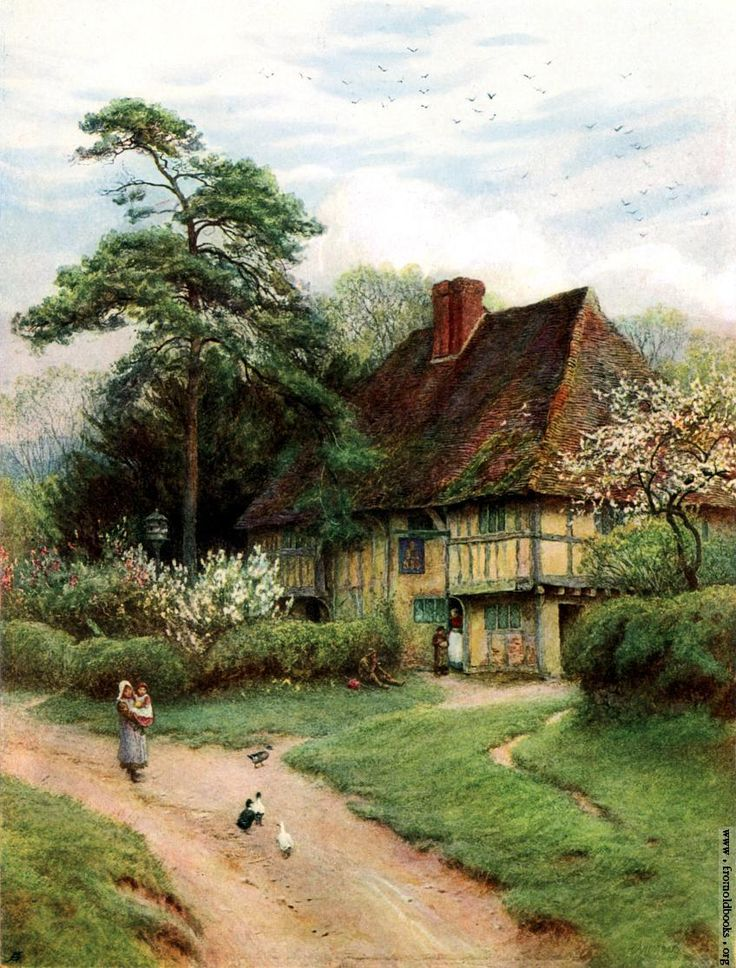 Hollingbourne Kent Old English Country Cottages 1906 Helen Allingham