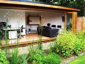 Garden room with bifold doors. More at: www.myhomerocks.com/2012/05/garden-rooms-outdoor-offices/ #homeimprovement