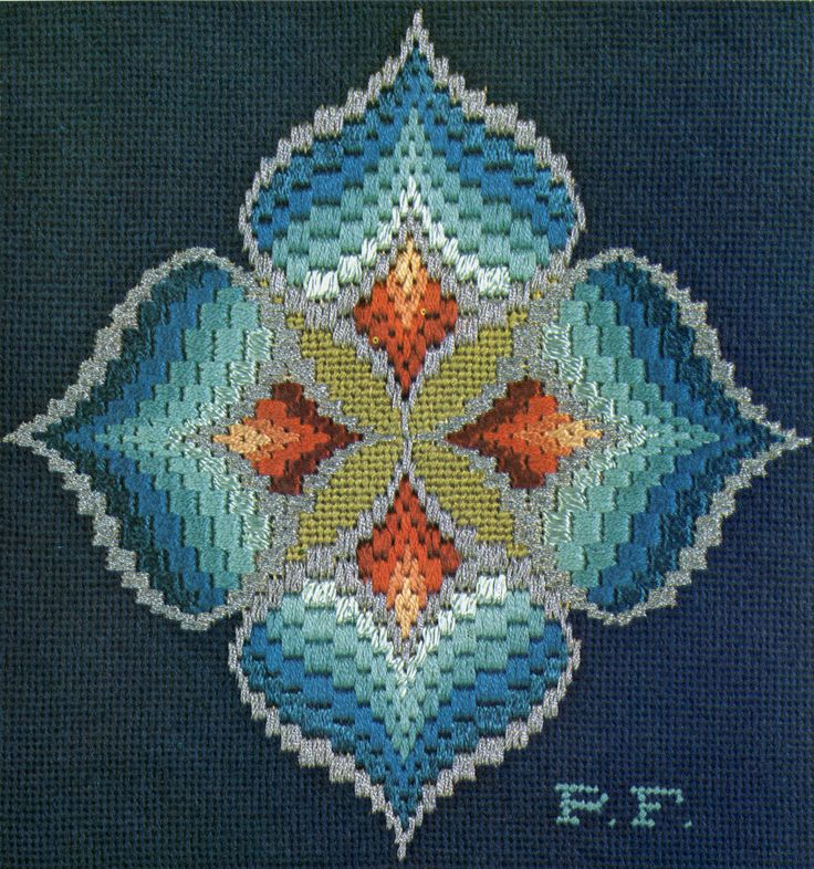 https://flic.kr/p/aSMwae | bargello magic - blue cymbidium | from bargello magic: how to design your own (1972)