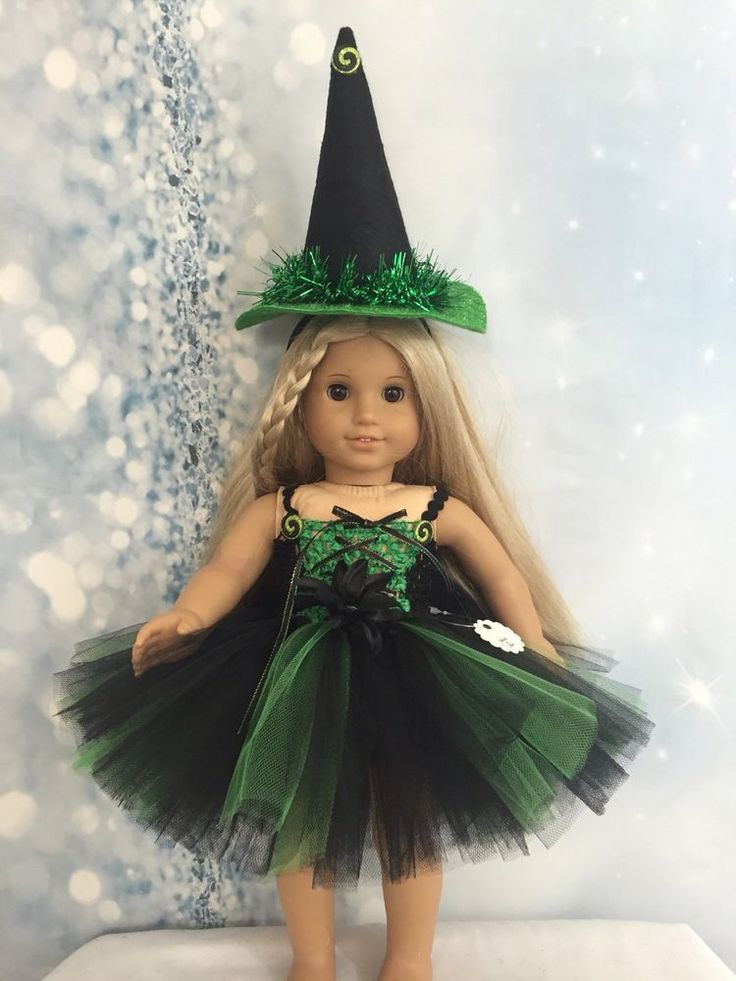 """American Made Black And Green Witch Dress For American Girl 18"""" Doll Halloween"""