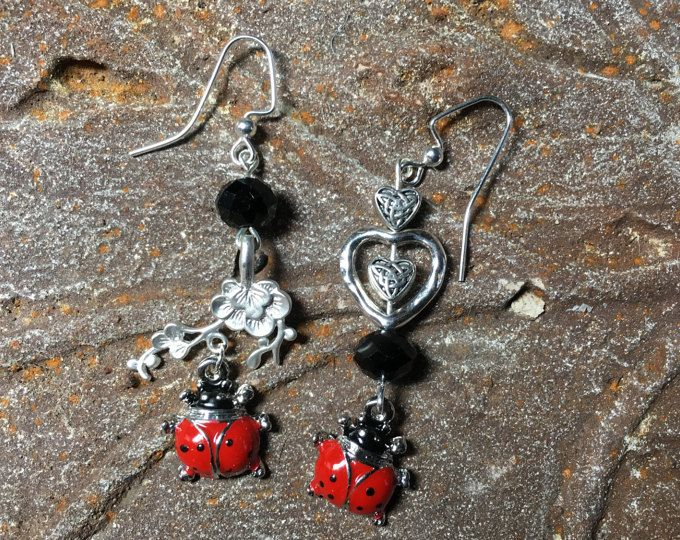 Mismatch Earring, Odd Earring, Ladybug, Love Bug, Long Dangle, Gardener Gift, Celtic, Mother Jewelry, Cherry Red, Retirement, Sweetheart