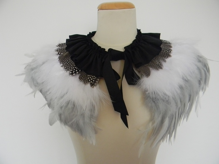 Grey Feather Cape, feather collar
