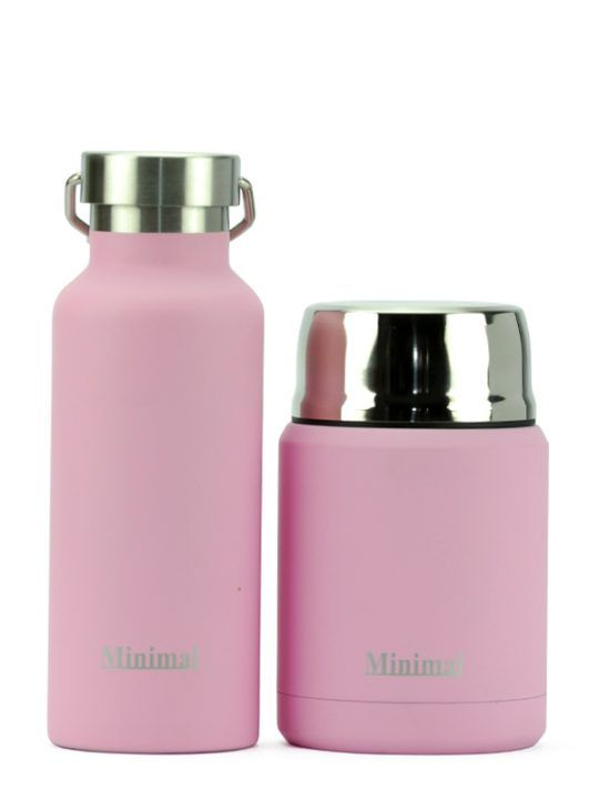 Perfect team-up: Minimal Insulated Flask 500ml with Food Jar 500ml Rose. Perfect for office and school! Keep cold up to 24hrs & Keep hot up to 12 hrs.
