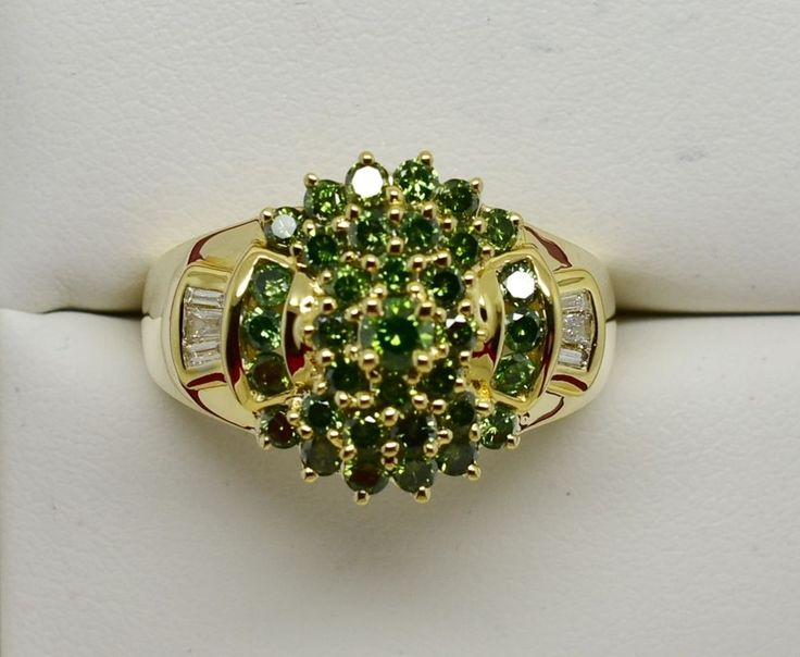 .57 CT GREEN DIAMOND RING 14K  Solid Gold w/White Diamond Baguettes - NEW #iwi #Cluster