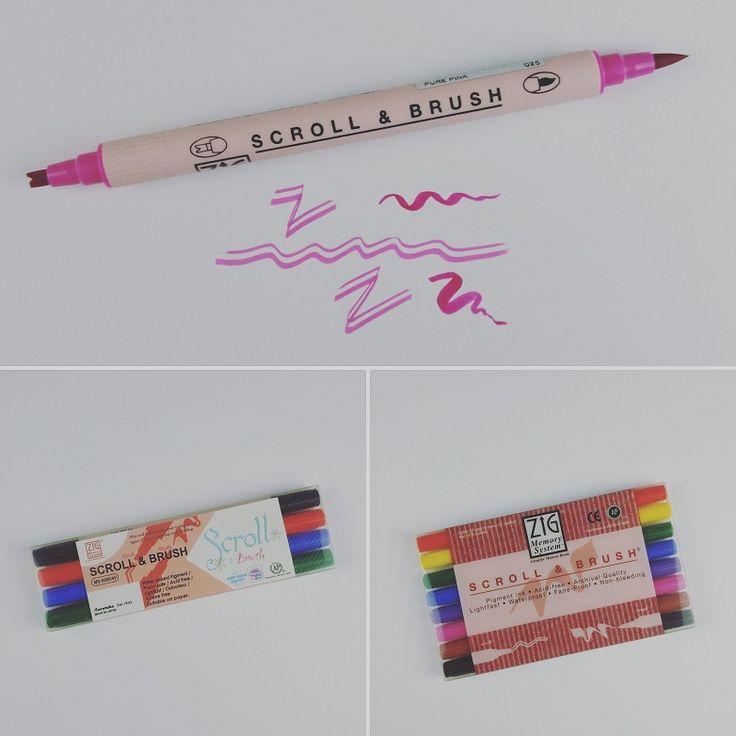 Kuretake ZIG - Scroll & Brush - Calligraphy Marker  Marker mit Doppelspitze aus dem Hause Kuretake Japan.  Eignen sich besonders für Lettering und Kalligrafie bzw. Broken Calligraphy!  Der Scroll & Brush Marker hat eine flache, gebrochene Spitze und eine flexible Brush Pinselspitze. Durch die flache gebrochene Spitze könnt ihr zwei gleiche Linien, wie im 45 Grad Winkel, erzeugen, sehr praktsich und sieht unheimlich gut aus.
