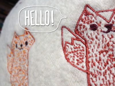 Three Foxes Embroidery Throw Pillow  #Etsy