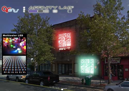 Color changing LED's highlights white areas of QR code, and puts Affinity labs building on the map.  QR code stands out in the late hours of the night. Color changing LED's could allow for multiple colors, and low power usage.