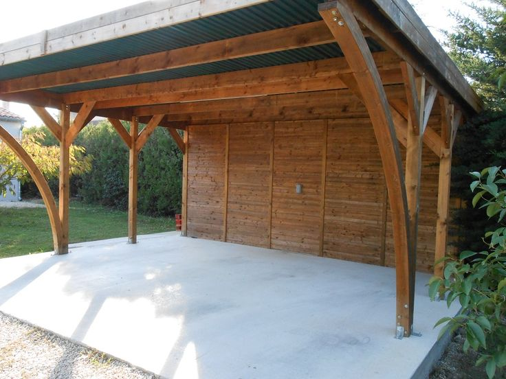 11 best images about abris voiture et carport en bois on for Garage bois autoclave