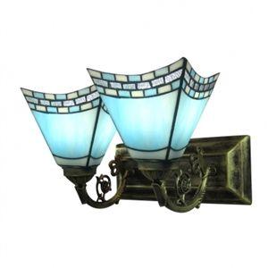 Romantique azuré Tiffany applique murale Deux Lampes pour salle de bain Haut lampe avec bras gravé