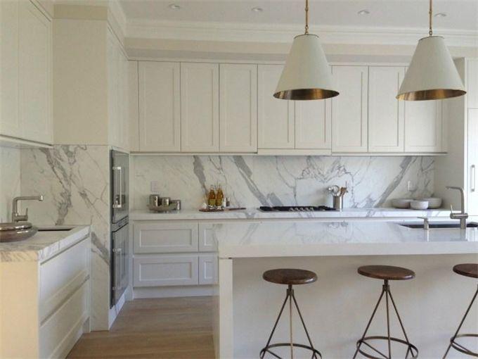 Marble slab backsplashes interior inspiration for Modern shaker kitchen