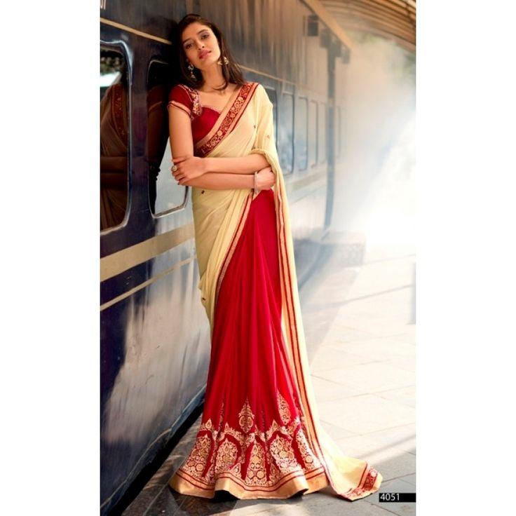 Festival Wear Chiffon Red Saree - 4051