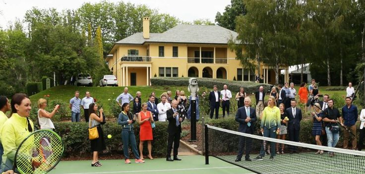Tennis match at The Lodge to inaugurate the newly restored tennis court. February 2018.
