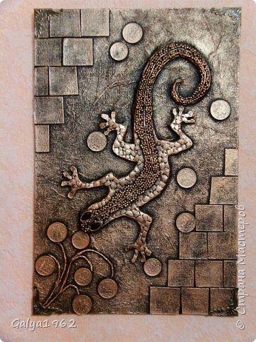 Картина панно рисунок Аппликация Денежная ящерица  Картон фото 1