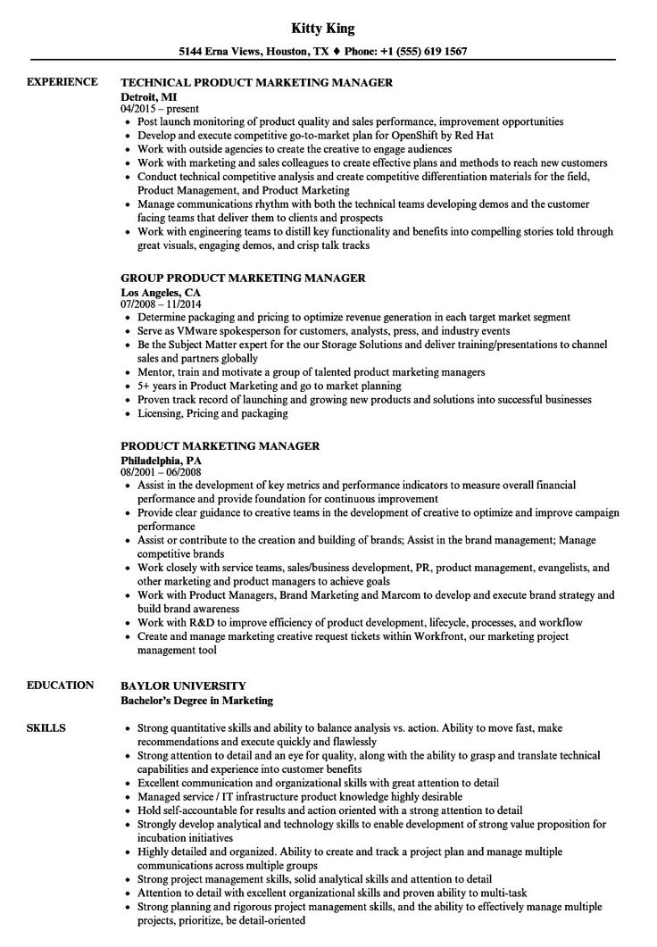 Product Manager Resume Example Very Good Product Marketing