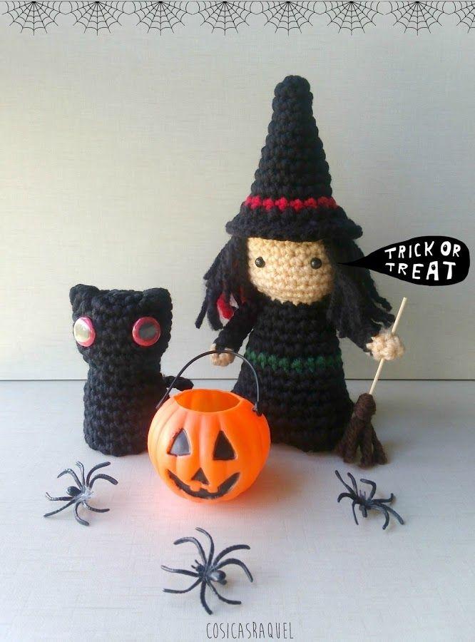 Amigurumi Halloween Patrones : Amigurumis paso a paso: bruja y gato Patrones amigurumi ...