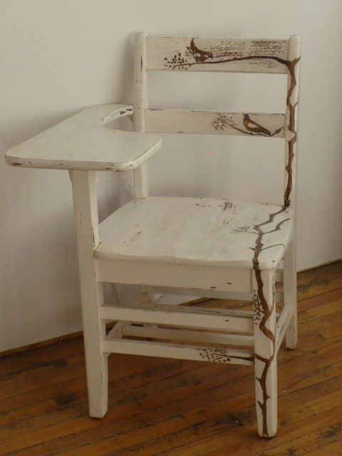Upcycled Vintage School Desk Chair By KaraUstudio On Etsy    Love The Bird  Detail