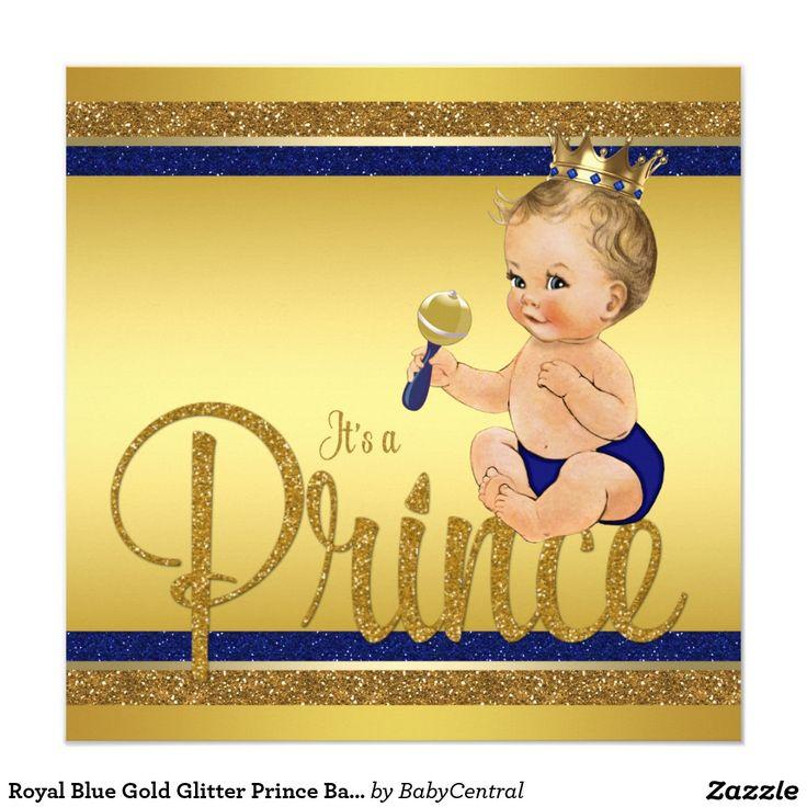 Royal Blue Gold Glitter Prince Baby Shower Invitation