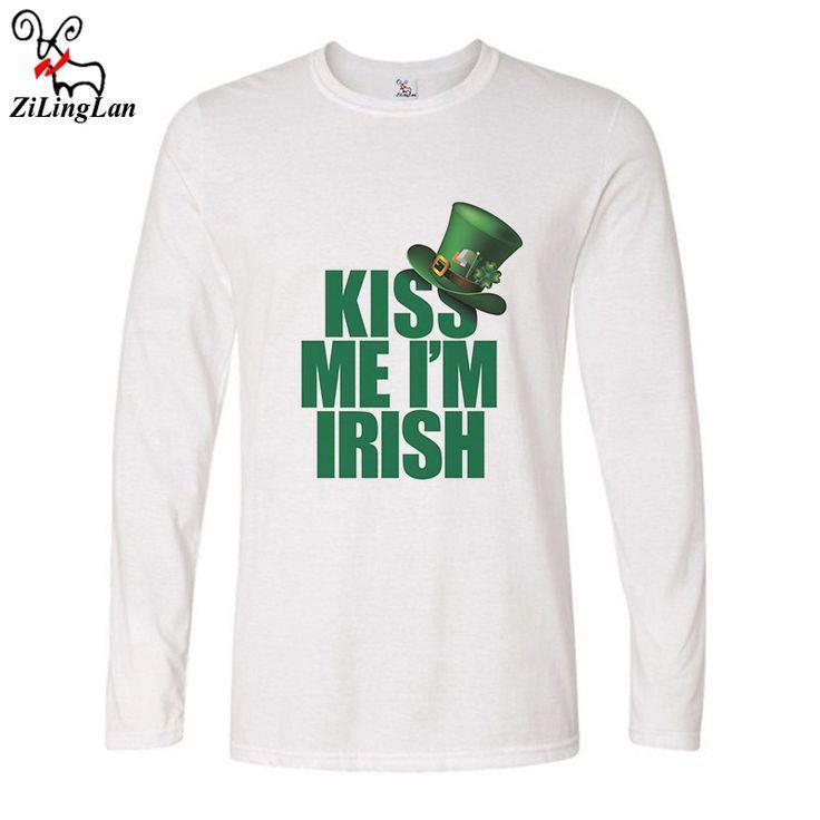Zilinglan Kiss Me I'm Irish Funny T-shirts Men Cotton Long Sleeve T Shirt Autumn T Shirts Hip Hop Bottoming Tees US Size #Affiliate
