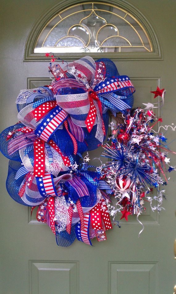 294 Best Images About 4th Of July Patriotic Wreaths On Pinterest Red White Blue Memorial