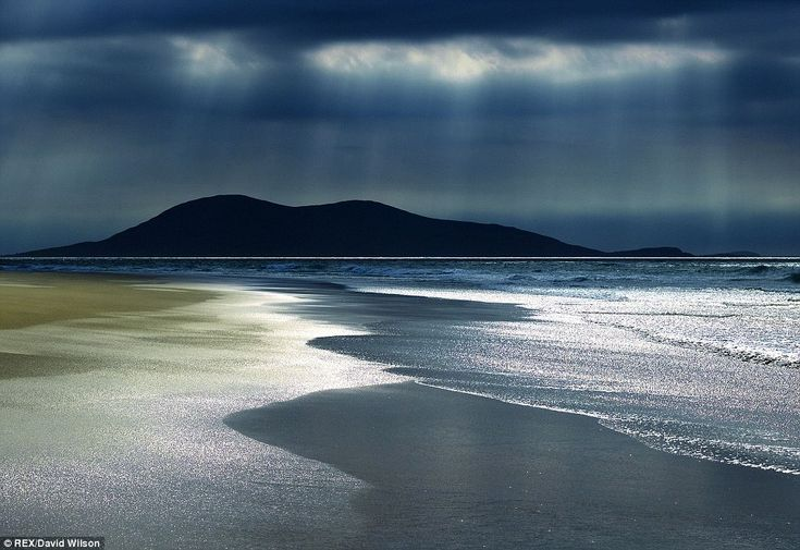 Uninhabited land: Silver seas at Luskentyre, Isel of Harris. The book takes the reader on a journey through the history of the Vikings' Long...