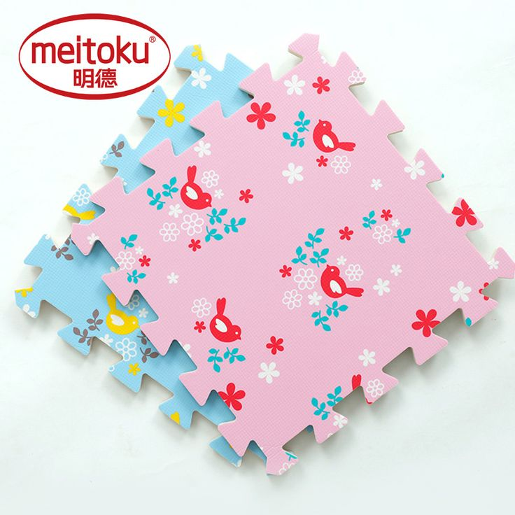 "Meitoku baby EVA foam play Puzzle mat /9pcs Bird Interlocking floor Tiles rugs,Each 30cmX30cmX1CM=12""X12"" X3/8"""