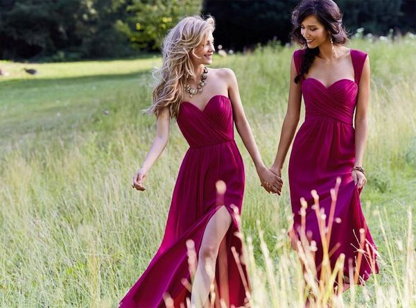 Delicious mulberry / wine bridesmaid dresses from JLM Couture
