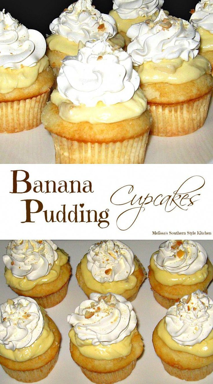 Banana Pudding Cupcakes are portable banana pudding Filled with vanilla pudding and chipped bananas then tipped with creamy whipped cream Portable banana pudding It doesn. Banana Pudding Cupcakes, Yummy Cupcakes, Banana Cream Cupcakes, Vanilla Cupcakes, Cream Filled Cupcakes, Gourmet Cupcakes, Funnel Cake Cupcakes, Peach Cobbler Cupcakes, Banana Frosting