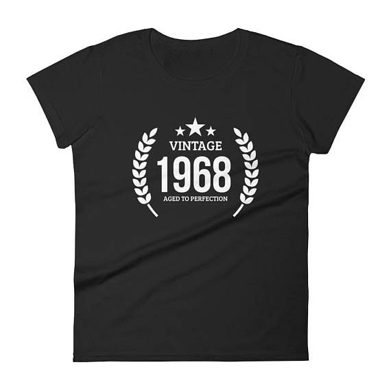 1968 Birthday Gift Vintage Born In T Shirt For Women 49th