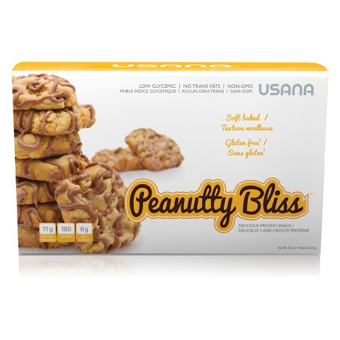 USANA Peanutty Bliss ™ is a protein snack chips delicious filled with peanut butter and topped with a creamy frosting with very peanuts. Nothing better to appease a strong craving.