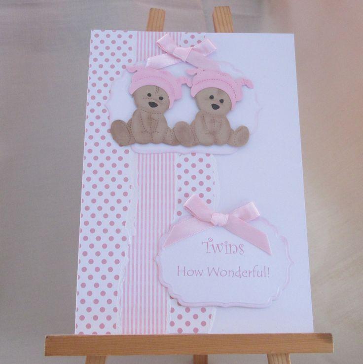 Handmade Birth Card for Twin Girls by HoneyandBlossom on Etsy