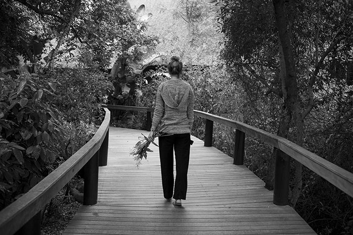 Londolozi Massage Therapist, Candice, walks along the Varty Camp walkway under enchanting treetops. Photograph by Catlin Fay Smith