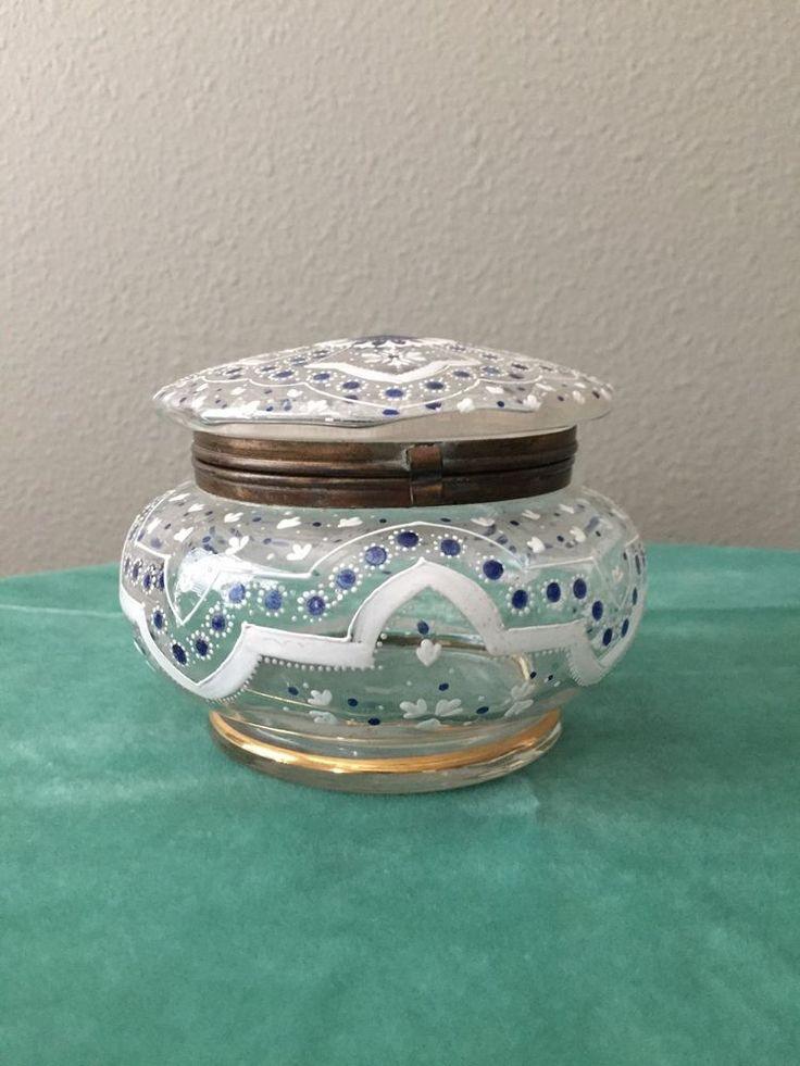 Vintage Antique Victorian Dresser Box Powder Jar HINGE BROKEN
