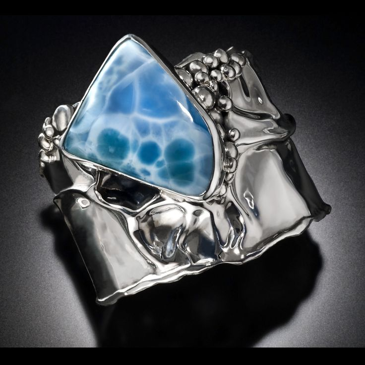 Dominican Republic Beauty.  Larimar in hand fabricated sterling silver cuff bracelet.