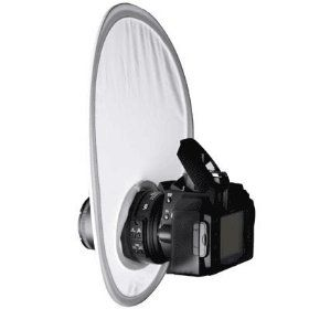 If you have to use the on-camera flash, you can at least soften its effects with a flash diffuser. These come in many styles but they all use a white translucent material to diffuse light. Want to try before you buy? Tape a ring of waxed paper around your pop up flash next time you use it. In principal this will do the same thing as a diffuser, though it's not durable and certainly not professional looking.