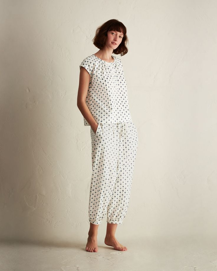 DAISY CHAIN PYJAMA | Crisp, lightweight, hand block printed cotton. Harem-style. Drawstring waist, elasticated at back. Elasticated ankle cuffs. Pockets.