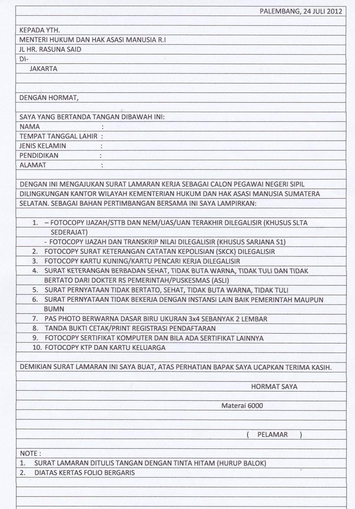 Surat Lamaran Kerja CPNS Kemenkumham di 2020 Surat