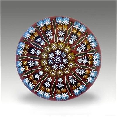 Vintage Perthshire PP2 signed millefiori glass paperweight / presse papiers