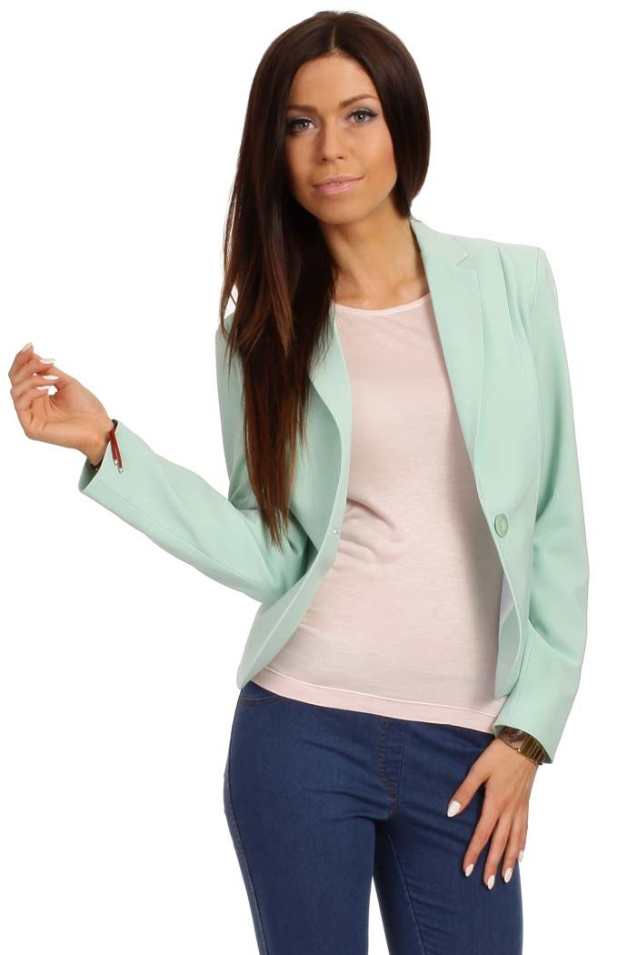 Mint blazer fastened with a single button