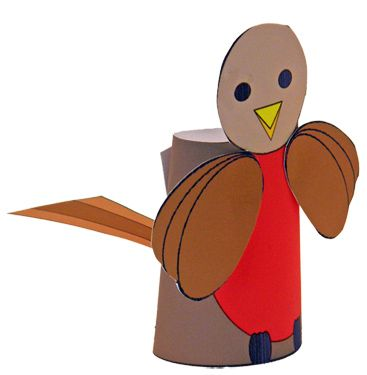 Little robin red-breast finger puppet.  Directions for preschool-grade 3.