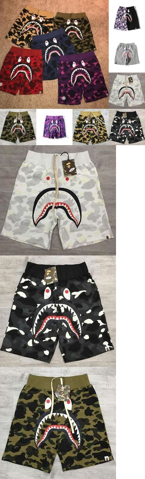 Shirts 183360: 2017 Bape Colorful Pattern Camo Shark Jaw Cotton A Bathing Ape Sports Shorts -> BUY IT NOW ONLY: $39.99 on eBay!