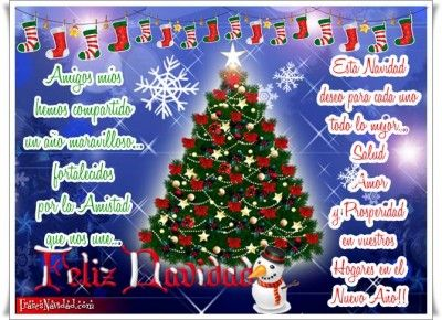 Frases navideñas para los amigos con árbol de navidad