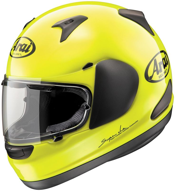 Arai Helmets Signet-Q Solid Helmet, Distinct Name: Flourescent Yellow, Gender: Mens/Unisex, Helmet Category: Street, Helmet Type: Full-face Helmets, Primary Color: Yellow, Size: Lg 817293. Slightly longer front to back length than RX-Q for true Long Oval fit. Larger eyeport opening as found on Corsair V, RX-Q and Vector-2. Comes equipped with SAI MAX VISION Brow Vent Pinlock ready shield and Pinlock insert for larger fog. Interior liner comes with 5mm peel-away pads to allow micro-fit...