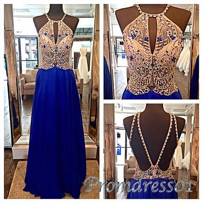 Prom dress 2016, beautiful halter navy blue chiffon long prom dress for teens #coniefox #2016prom