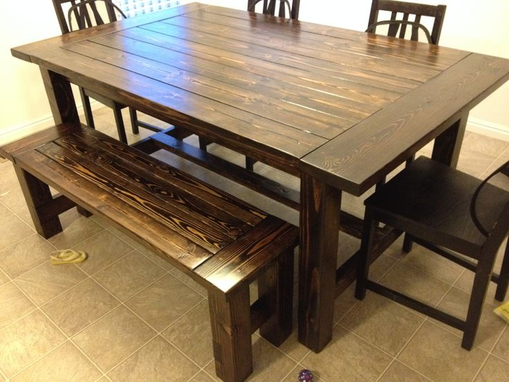 Farmhouse table and bench do it yourself home projects from ana white tommie pinterest - Ana white kitchen table ...