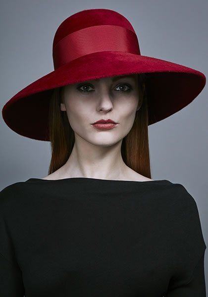 Rachel Trevor Morgan Millinery AW 2016 | R16W25 - Red felt classic hat with grosgrain ribbon and bow