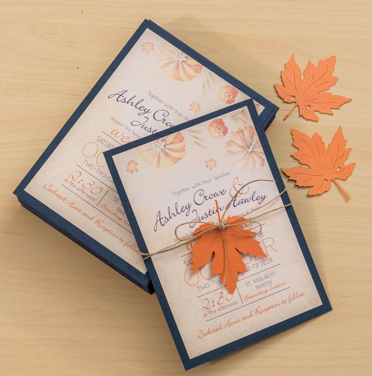 Invitation Design | Fall Wedding — Danielle McCain Layered wedding invitation design for fall or halloween wedding.  Navy and orange.  Fall leaves