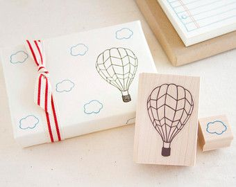 Hot Air Balloon and Little Cloud Rubber Stamp Set - Up, Up and Away - Fun Stamp To Color In - Scrapbook Cardmaking Gift Wrap
